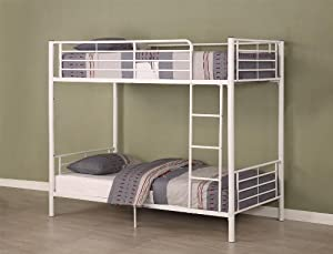 Walker Edison Twin-Over-Twin Bunk Bed, White by Walker Edison