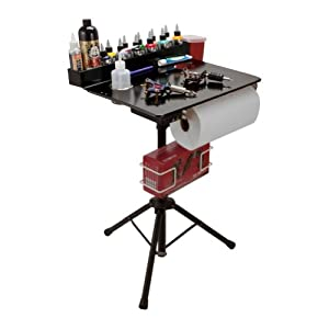 Porta Station Portable Tattoo Studio Compact Stand Table Travel Desk Tray BLACK