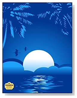 Blue Summer Night Notebook - Peaceful and tranquil is the look of the blue tropical moon setting that graces the cover of this blank and wide ruled notebook with blank pages on the left and lined pages on the right.