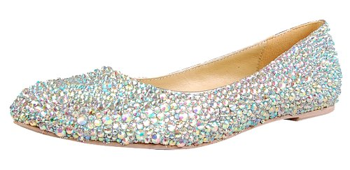 Honeystore Women'S Bridesmaid Crystal Sheepskin Flats Silver 8.5 B(M) Us front-39445