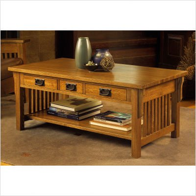 American Craftsman Design Mission Three Drawer Coffee Table in Medium Cherry