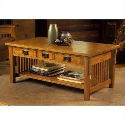 American Craftsman Design Mission Three Drawer Coffee Table in Medium Cherry