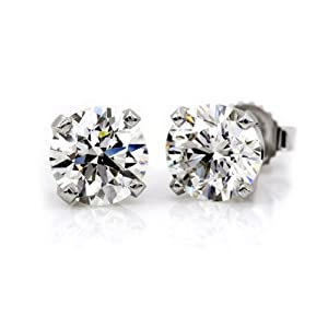 1/2 Ct. tw Diamond Stud Earrings in 14K White Gold (4-Prong, Round-Cut, I-J, I2-I3)