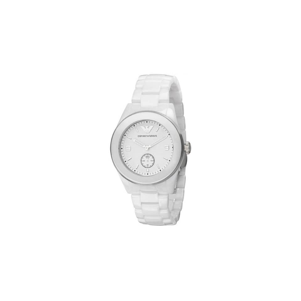 Emporio Armani Mens AR1415 Ceramic White Skeleton Dial Watch