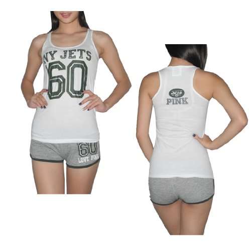 Pink Victoria's Secret Womens NFL New York Jets #60 Set X-Small White & Grey at Amazon.com
