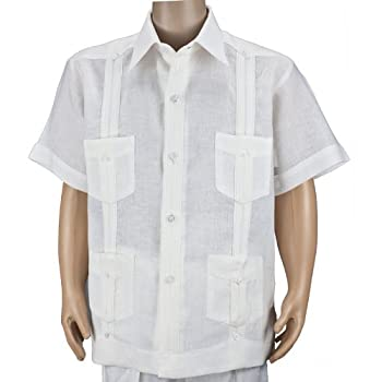 El brand short sleeve boys white guayabera shirt