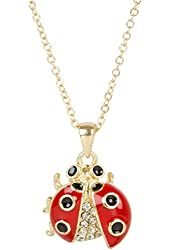 Heirloom Finds Beautiful Red Black Enamel Ladybug Pendant with Bling on Gold Tone Necklace