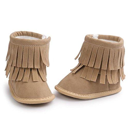 Voberry Baby Toddler Girls Boys Winter Warm Snow Boot Tassels Trimmed Boots Outdoor (0~6Month, light Khaki)