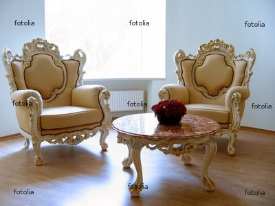 """Wallmonkeys Peel and Stick Wall Decals - Two Antique Chairs and Marble Table - 36""""W x 27""""H Removable Graphic"""