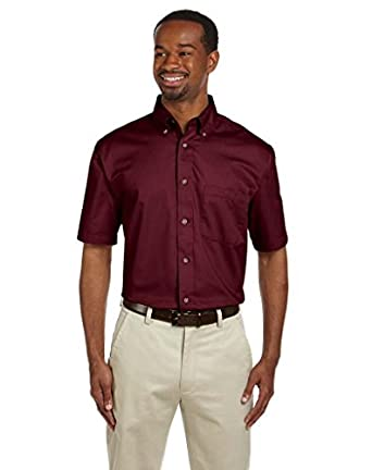 Harriton Men's Short-Sleeve Twill Shirt with Stain-Release>S WINE M500S