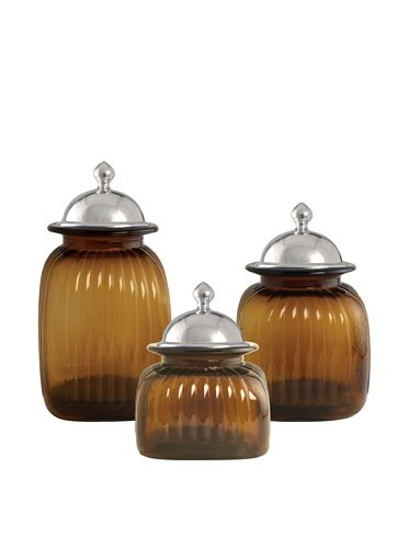 Artland 3 Piece Amber Glass Canister Set With Barrington Lids By Artland