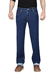 Dragaon Mens Silky Chinos Stretchable Relaxed Fit Jeans-Blue-D-2608-Size-48