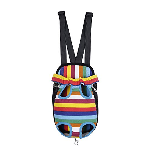 Easywin Stripe Pattern Pet Dog Cat Puppy Carrier Front Chest Package Backpack Strap Doggy Shoulder Bag Pouch Pocket Pets Supplies — Size M