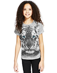 Tiger Face Studded T-Shirt