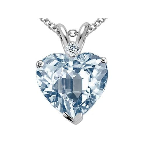1.77 cts Genuine 8mm Heart Shaped Aquamarine Pendant - 14kt White or Yellow Gold