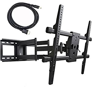 "VideoSecu Articulating Full Motion TV Wall Mount Bracket for most 32""-70"" LED LCD Plasma HDTV up to 165 lbs with VESA 684x400 600x400 400x400 200x200mm, Dual Arm pulls out up to 25"", Leveling Adjustments A37"