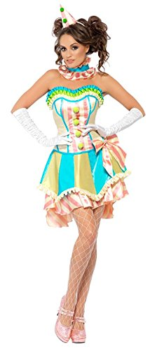 Fever Women's Vintage Clown Costume with Top Skirt Collar and Mini Hat