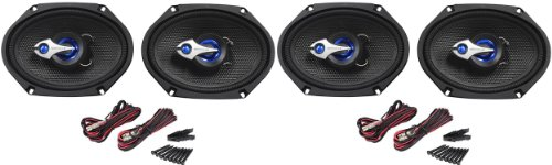 """(2) Pairs Rockville Rv68.3 6X8"""" Cea Compliant 3-Way Car Speakers With Hex Base Technology Acrylic Speaker Cone And Built-In Capacitor Crossover Network Totaling 1280 Watt Peak/320 Watt Rms"""