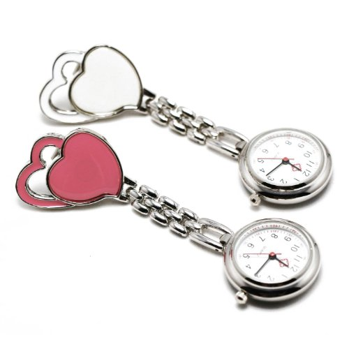 [FUKUROU] cute nurse watch heart clip-on and 1 x spare batteries with FUKUROU original upside-down letter with storage pouch machine heart white 036