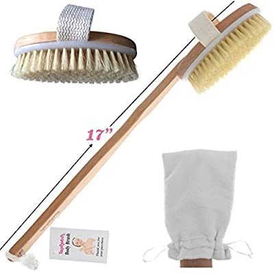ON SALE TopNotch Body Brush - Natural Boar Bristles - Long BeechwoodHandle - Bath Shower Brushes - Great Back Scrubber - Anti Cellulite - Dry Skin Brushing