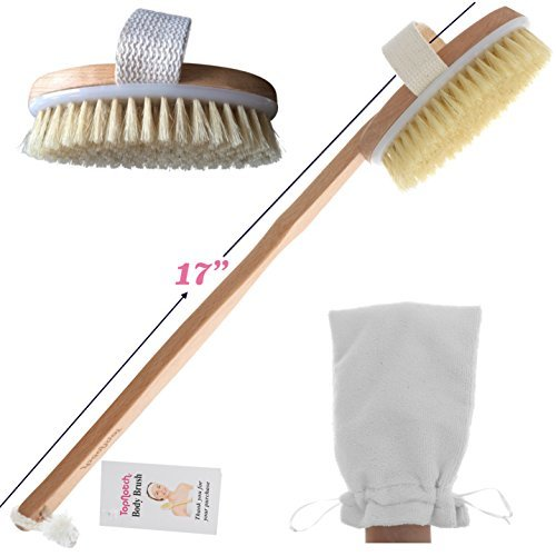 ON SALE TopNotch Body Brush - Natural Boar Bristles - Long BeechwoodHandle - Bath Shower Brushes - Great Back Scrubber - Anti Cellulite - Dry Skin Brushing (Foot Wood Bath compare prices)