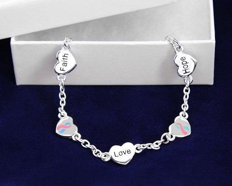 Pink & Blue Ribbon Bracelet-Hope, Faith, Love (18 Bracelets)