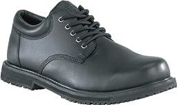 Grabbers Men\'s Friction Plain Toe Oxfords, Black Leather, Rubber, 17 M