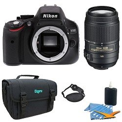 Nikon D5100 16.2MP CMOS Digital SLR Camera With Nikon 55-300mm f/4.5-5.6G ED VR AF-S DX Nikkor Zoom Lens for Nikon Digital SLR With Gadget Bag And Cleaning Kit
