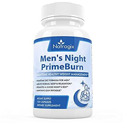 Natrogix Nighttime Fat Burner for Men, Vcaps, Weight Management & Sleep Aid, to Burn Fat, Build Muscle and Boost Metabolism While You Sleep