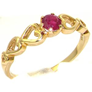 Solid English 9ct Yellow Gold Natural Ruby with Hearts Shoulders Solitaire Engagement Ring - Size T - Finger Sizes J to Z Available
