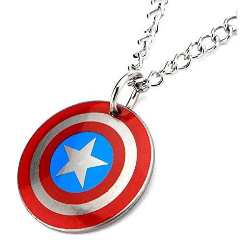 Ufficiale in Acciaio Inox Captain America Logo Shield Ciondolo Bambini Con La Catena