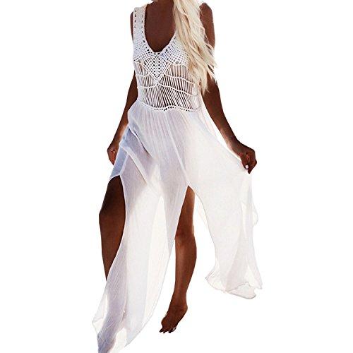 sunnow damen sommerkleid strandkleid gestrickte troddel bikini cover up bademode lang rock. Black Bedroom Furniture Sets. Home Design Ideas