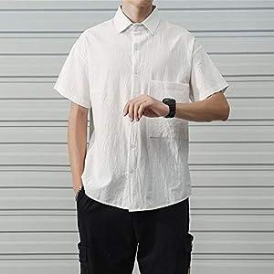 ventvague(ヴォンヴァーグ) [ヴォンヴァーグ] シャツ 半袖 カジュアル ワイシャツ 無地 ボタン オフィス 通勤 通学 爽やか 綿 麻 メンズ