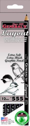 General's Layout Pencil, Extra Black Graphite, Box of 1 Dozen (555)
