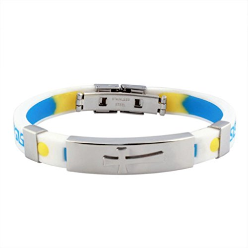 Amdxd Jewelry Titanium Stainless Steel Unisex Fashion Bracelet Blue Yellow Silicone Chain Length 21.5Cm