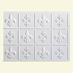 Fasade Easy Installation Backsplash 18inx24in Fleur de Lis Gloss White Backsplash Panel for Kitchen and Bathrooms