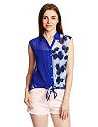 PrettySecrets Women's Waist Tie Shirt (PSW14BLS62 _Blue_S)