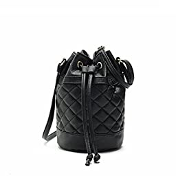 Hoxis Quilted Soft Pebbled Faux Leather Drawstring Bucket Mini Cross Body Shoulder Bag(Black)