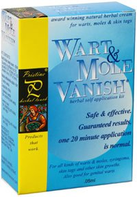 Wart Mole Vanish Award Winning, All Natural, Wart, Mole, Skin Tag, Syringoma & Genital Wart Remover Removal. Remove with only ONE 20 minute application! No daily application of creams, oils or acids. Pristine Herbal Touch - the only authorized seller
