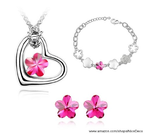 Nicedeco Je-Sw-Tz057-Deeppink,Swarovski Elements Austrian Crystal Jewelry Sets,Para Para Sakura/Romatic Cherry Blossom,Necklace,Bracelet, And Earring(3-Piece Set),Elegant Style And Exquisite Craftsmanship