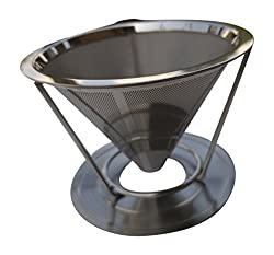 Steel Pour Over Coffee Dripper - Paperless Reusable Drip Coffee Maker 2 Cups - The Bean House