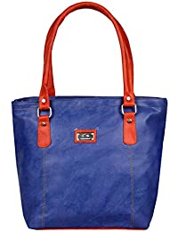 Women's PU Leather Handbags High Grade New Fashion Female Tote Bag - Blue With Brown Strap