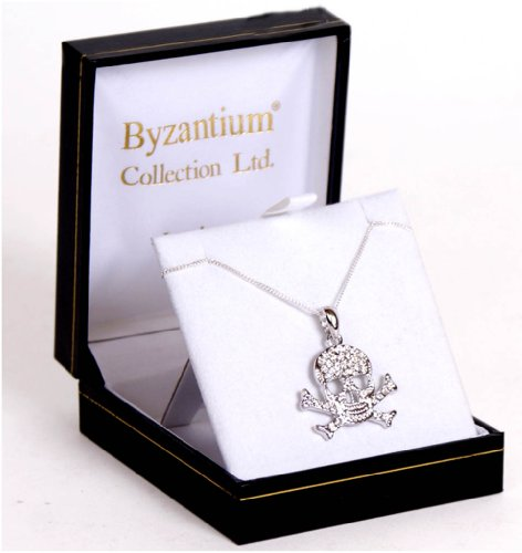 Swarovski Crystal Skull & Crossbones Ciondolo in argento
