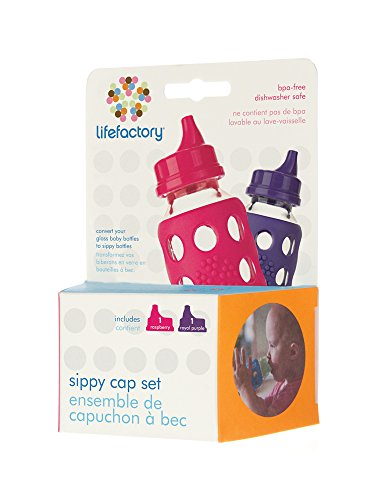 Lifefactory BPA-Free Spillproof Sippy Caps for 4 & 9-Ounce Glass Baby Bottles, Raspberry and Royal Purple, Set of 2