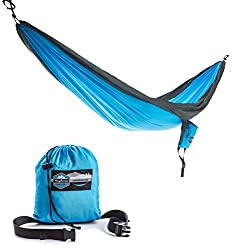 Double Parachute Camping Hammock with FREE Tree Straps by Youphoria Outdoors - Lightweight Nylon Compression Travel Hammock with Premium Wiregate Aluminum Carabiners. Blue/Gray Trim