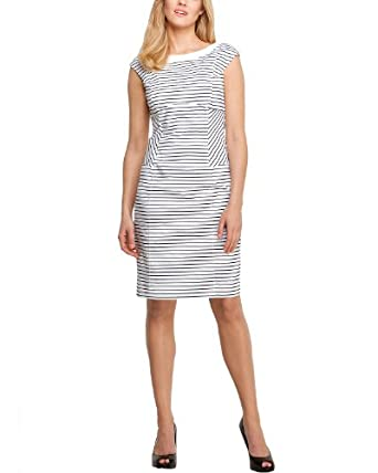 Comma Damen Kleid (knielang) Regular Fit, gestreift 81.305.82.2300 KLEID KURZ, Gr. 34, Mehrfarbig (01G1 white stripes)