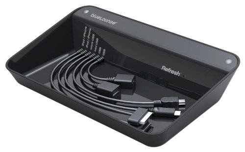 Bluelounge Design Rf-Bl Refresh Charging Station For Iphone, Ipod, & Other Usb Ready Devices - Charger - Retail Packaging - Black