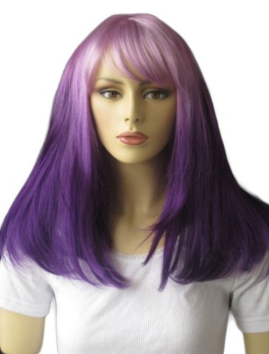 annabelle 39 s wigs dip dye ombre dark and light purple long bob wig jess 220g by annabelles wigs. Black Bedroom Furniture Sets. Home Design Ideas