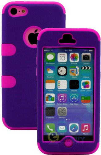 Mylife (Tm) Hot Pink + Plum Purple Flat Color Style 3 Layer (Hybrid Flex Gel) Grip Case For New Apple Iphone 5C Touch Phone (External 2 Piece Full Body Defender Armor Rubberized Shell + Internal Gel Fit Silicone Flex Protector + Lifetime Waranty + Sealed