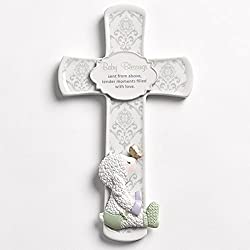 Baby Blessings White Lamb Damask Pattern 7 inch Porcelain Wall Cross